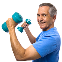 Happy Senior with Dumbbells