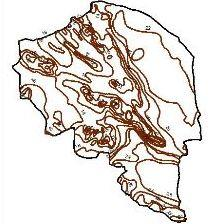 Isotherms contour map of Kerman